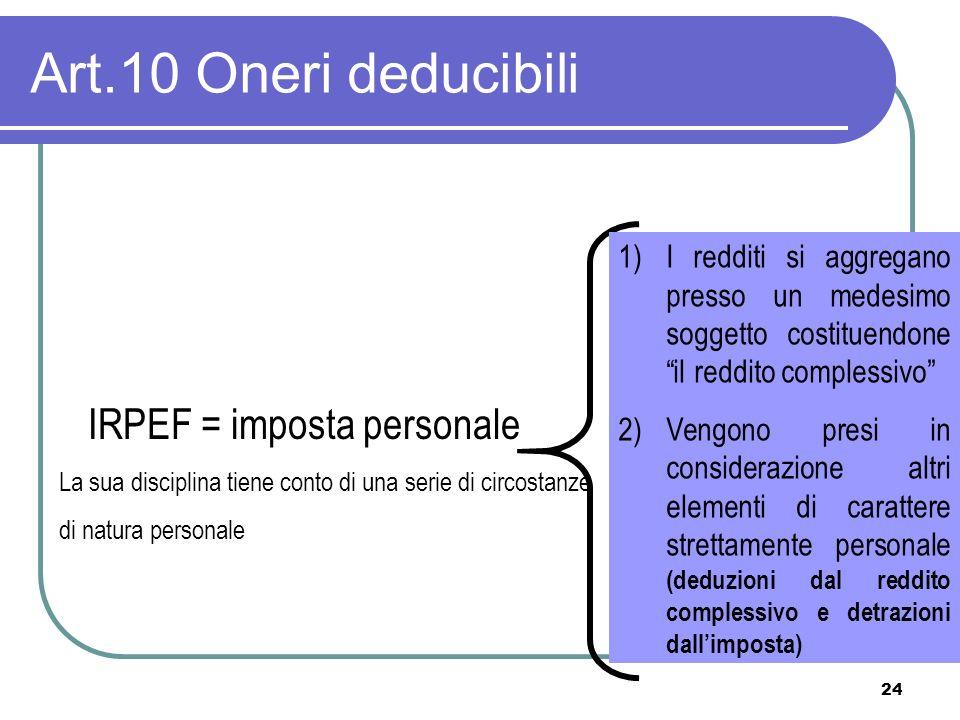 24 Art.10 Oneri deducibili IRPEF = imposta personale La sua disciplina tiene conto di una serie di circostanze di natura personale 1)I redditi si aggr