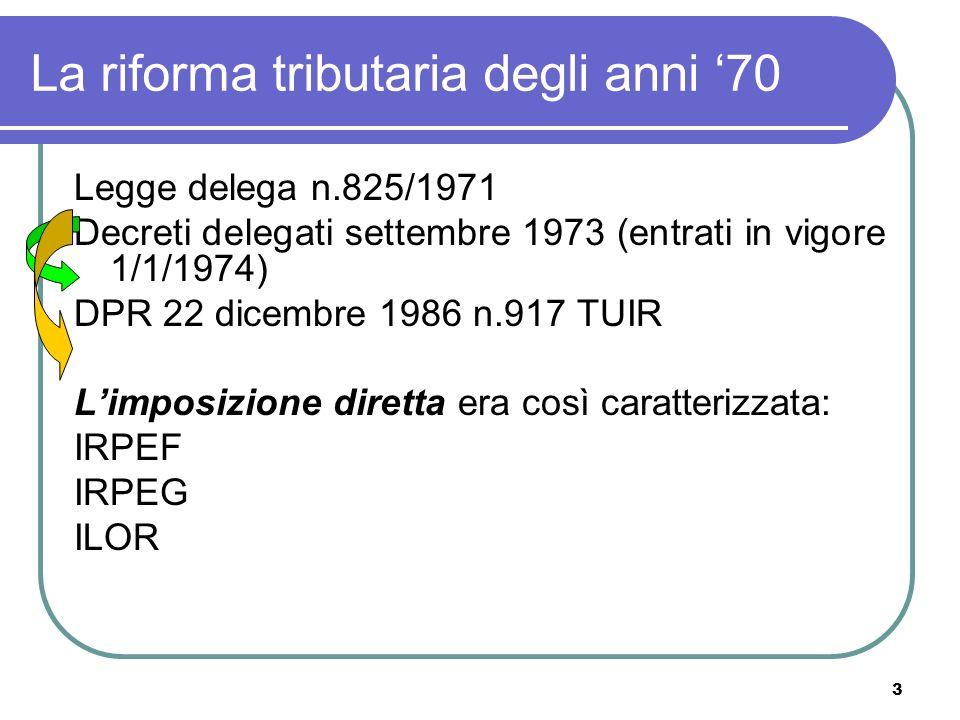 3 La riforma tributaria degli anni 70 Legge delega n.825/1971 Decreti delegati settembre 1973 (entrati in vigore 1/1/1974) DPR 22 dicembre 1986 n.917 TUIR Limposizione diretta era così caratterizzata: IRPEF IRPEG ILOR
