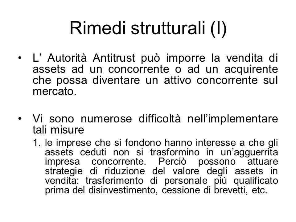 Rimedi strutturali (I) L Autorità Antitrust può imporre la vendita di assets ad un concorrente o ad un acquirente che possa diventare un attivo concor