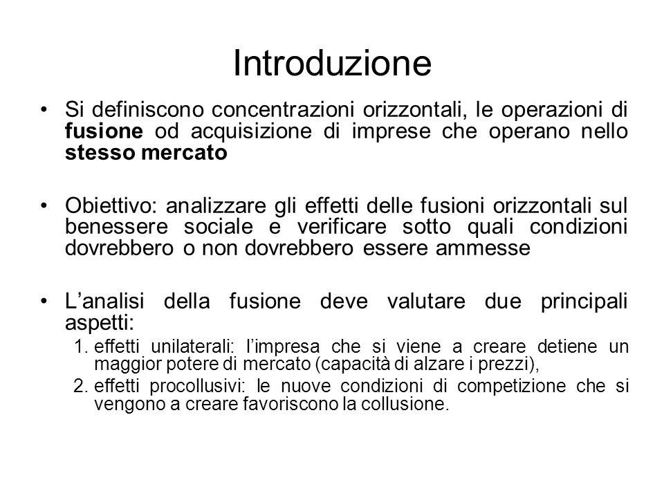 Introduzione Si definiscono concentrazioni orizzontali, le operazioni di fusione od acquisizione di imprese che operano nello stesso mercato Obiettivo