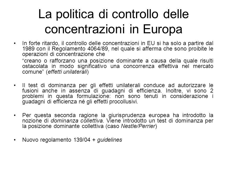La politica di controllo delle concentrazioni in Europa In forte ritardo, il controllo delle concentrazioni in EU si ha solo a partire dal 1989 con il