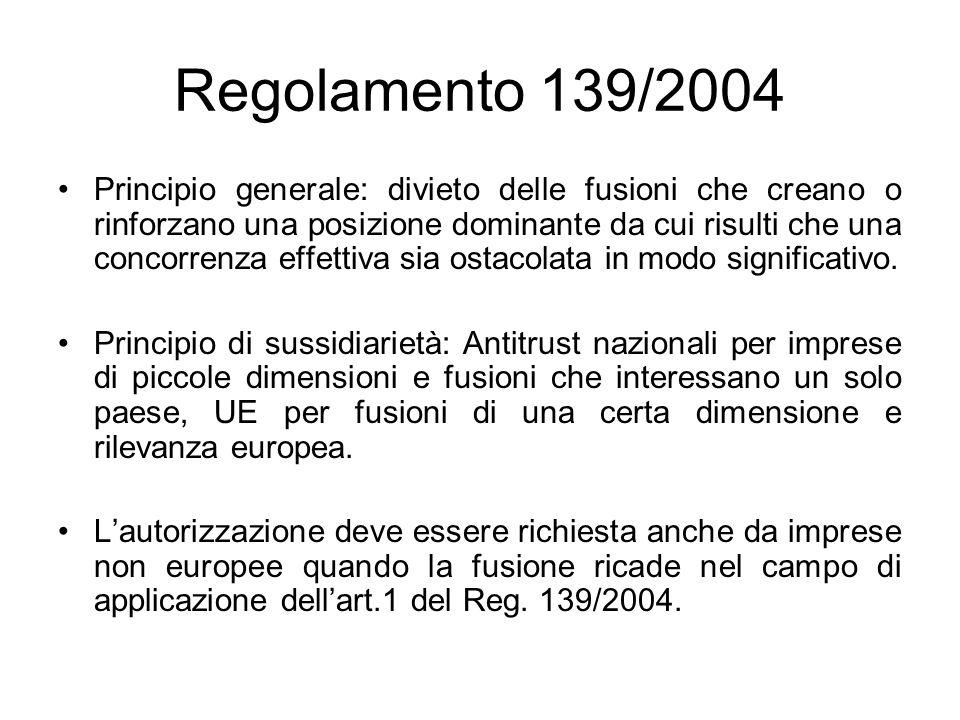 Regolamento 139/2004 Principio generale: divieto delle fusioni che creano o rinforzano una posizione dominante da cui risulti che una concorrenza effe