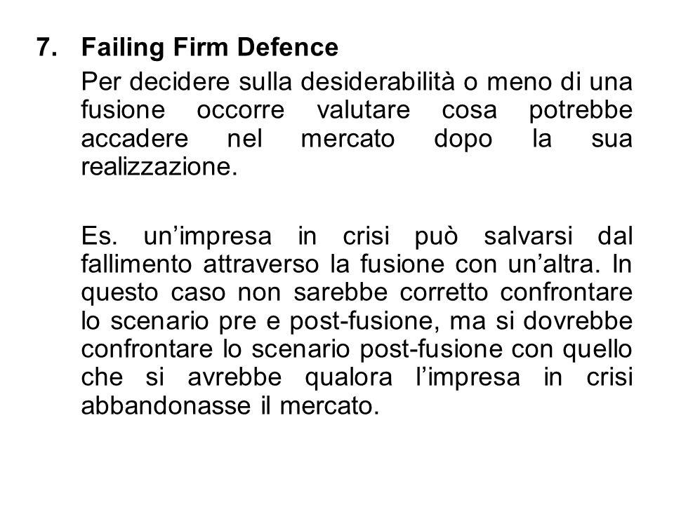 7.Failing Firm Defence Per decidere sulla desiderabilità o meno di una fusione occorre valutare cosa potrebbe accadere nel mercato dopo la sua realizz