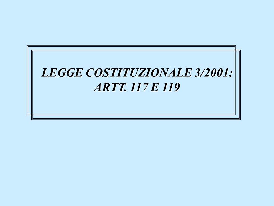 LEGGE COSTITUZIONALE 3/2001: ARTT. 117 E 119