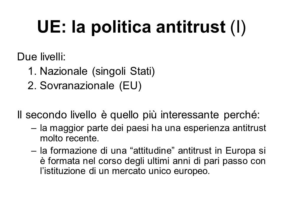 UE: la politica antitrust (I) Due livelli: 1. Nazionale (singoli Stati) 2. Sovranazionale (EU) Il secondo livello è quello più interessante perché: –l