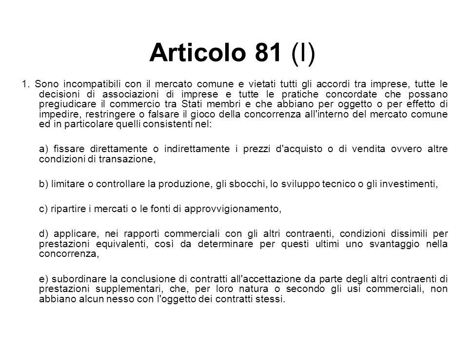 Articolo 81 (I) 1. Sono incompatibili con il mercato comune e vietati tutti gli accordi tra imprese, tutte le decisioni di associazioni di imprese e t