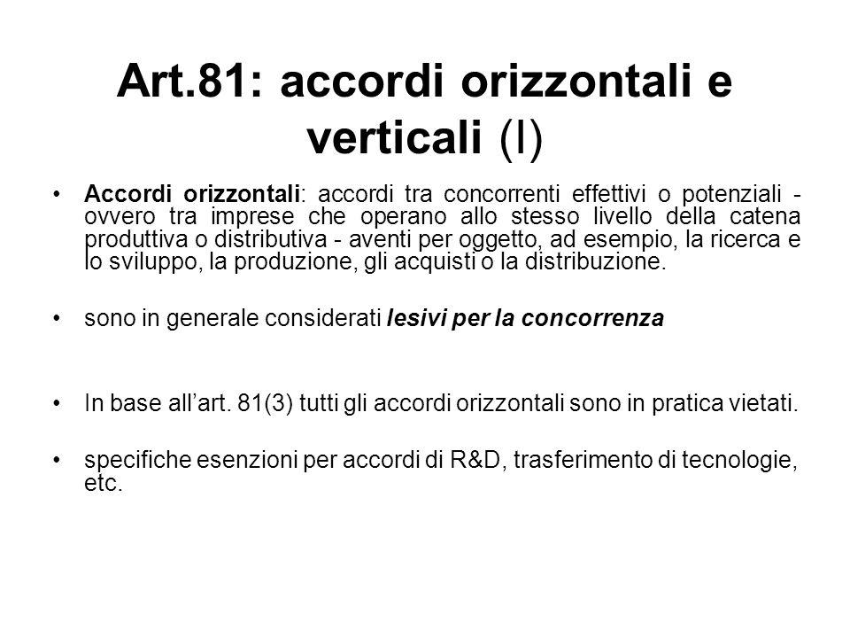Art.81: accordi orizzontali e verticali (I) Accordi orizzontali: accordi tra concorrenti effettivi o potenziali - ovvero tra imprese che operano allo