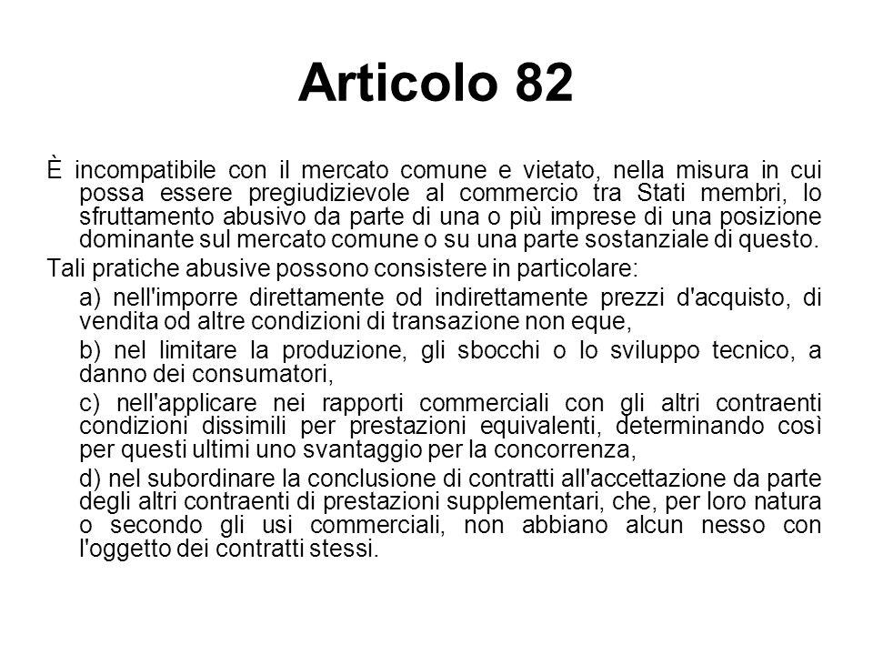 Articolo 82 È incompatibile con il mercato comune e vietato, nella misura in cui possa essere pregiudizievole al commercio tra Stati membri, lo sfrutt