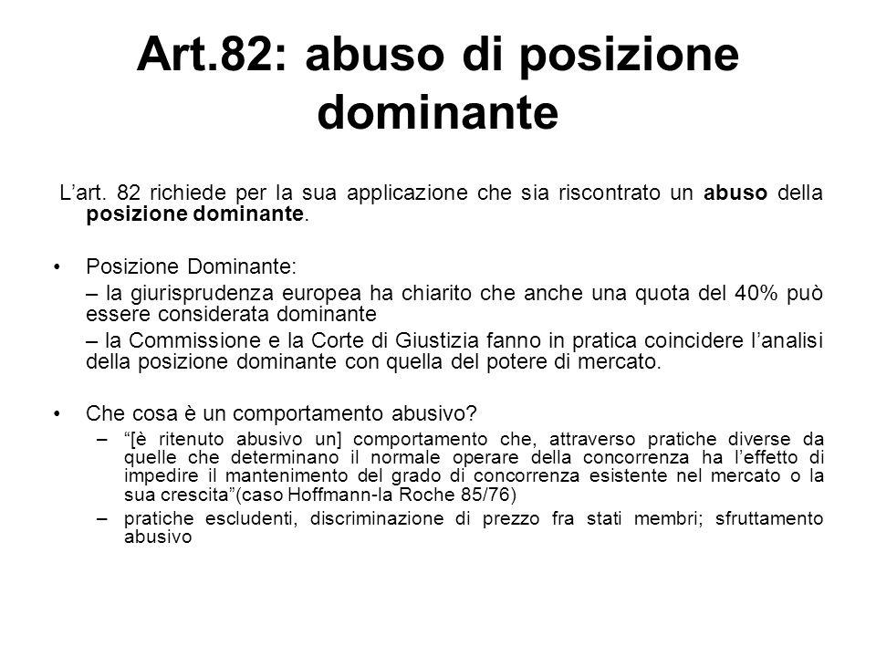 Art.82: abuso di posizione dominante Lart. 82 richiede per la sua applicazione che sia riscontrato un abuso della posizione dominante. Posizione Domin
