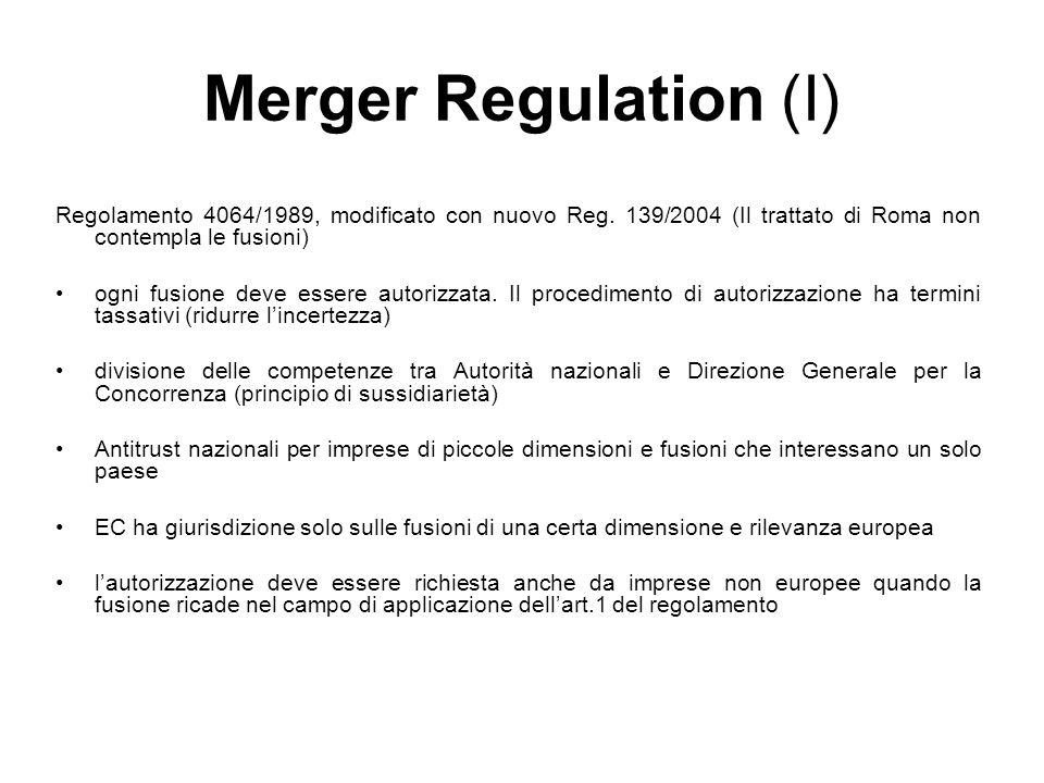 Merger Regulation (I) Regolamento 4064/1989, modificato con nuovo Reg. 139/2004 (Il trattato di Roma non contempla le fusioni) ogni fusione deve esser