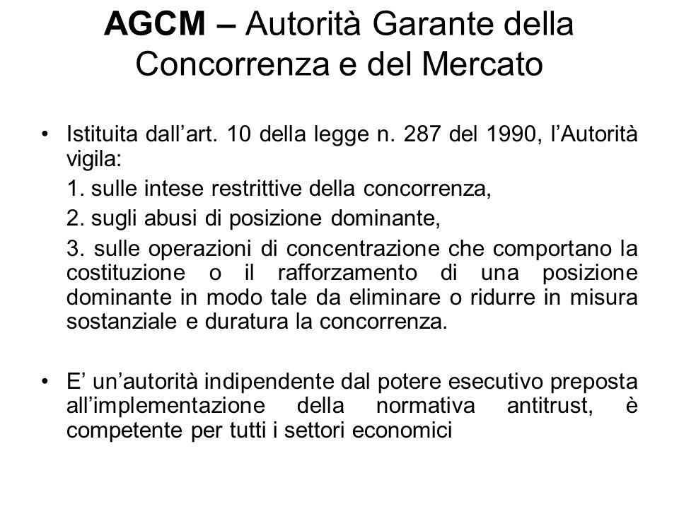 AGCM – Autorità Garante della Concorrenza e del Mercato Istituita dallart. 10 della legge n. 287 del 1990, lAutorità vigila: 1. sulle intese restritti