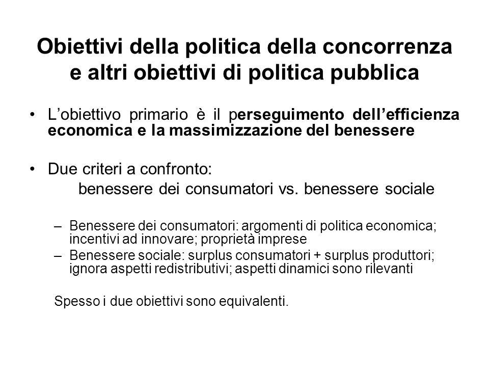 Obiettivi della politica della concorrenza e altri obiettivi di politica pubblica Lobiettivo primario è il perseguimento dellefficienza economica e la
