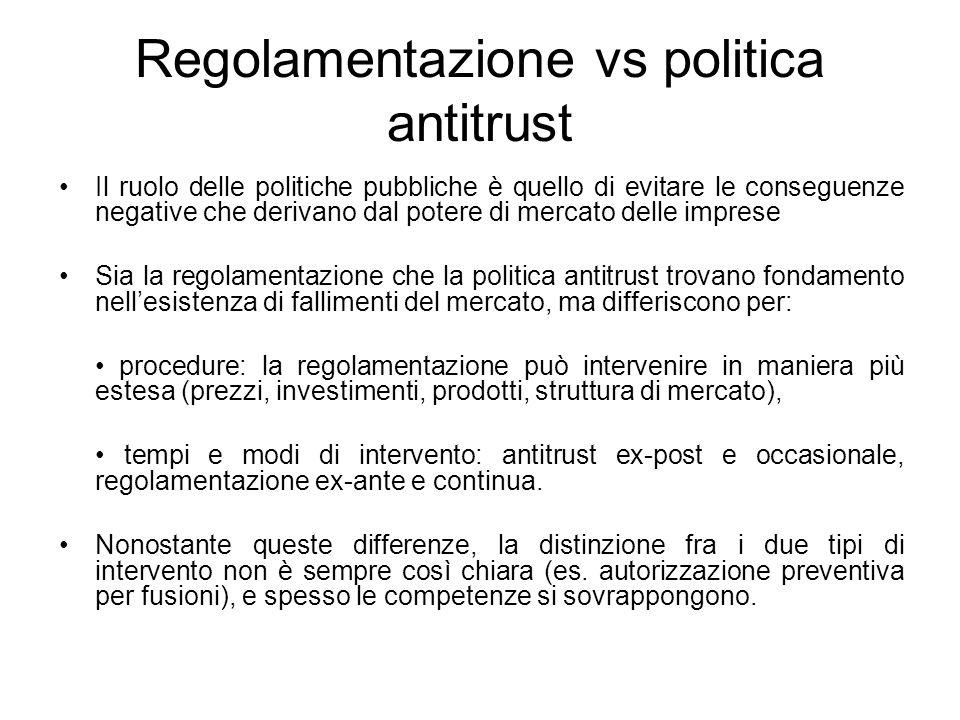 Regolamentazione vs politica antitrust Il ruolo delle politiche pubbliche è quello di evitare le conseguenze negative che derivano dal potere di merca