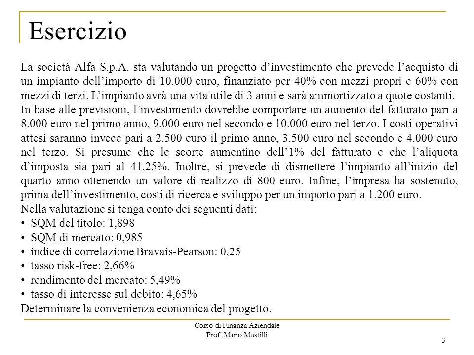 Corso di Finanza Aziendale Prof. Mario Mustilli Esercizio La società Alfa S.p.A. sta valutando un progetto dinvestimento che prevede lacquisto di un i