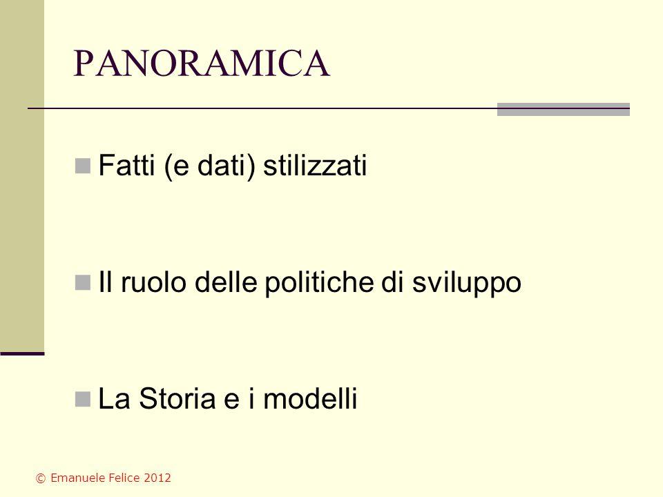 PANORAMICA Fatti (e dati) stilizzati Il ruolo delle politiche di sviluppo La Storia e i modelli © Emanuele Felice 2012