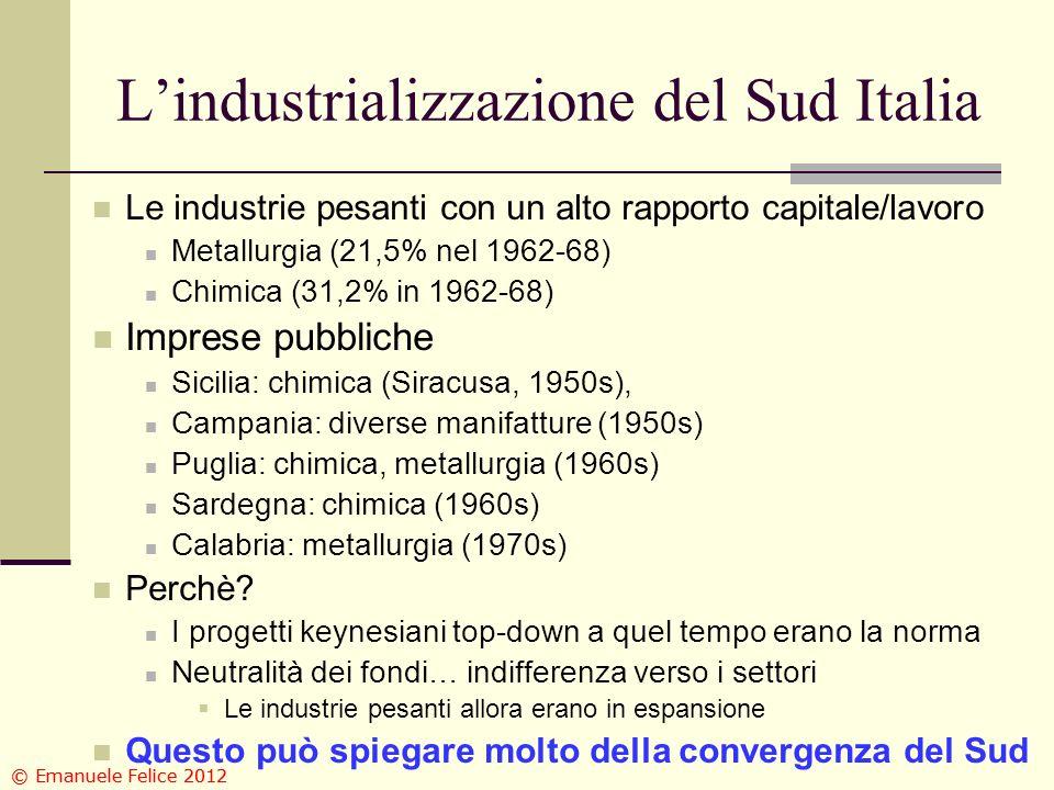 Lindustrializzazione del Sud Italia Le industrie pesanti con un alto rapporto capitale/lavoro Metallurgia (21,5% nel 1962-68) Chimica (31,2% in 1962-6