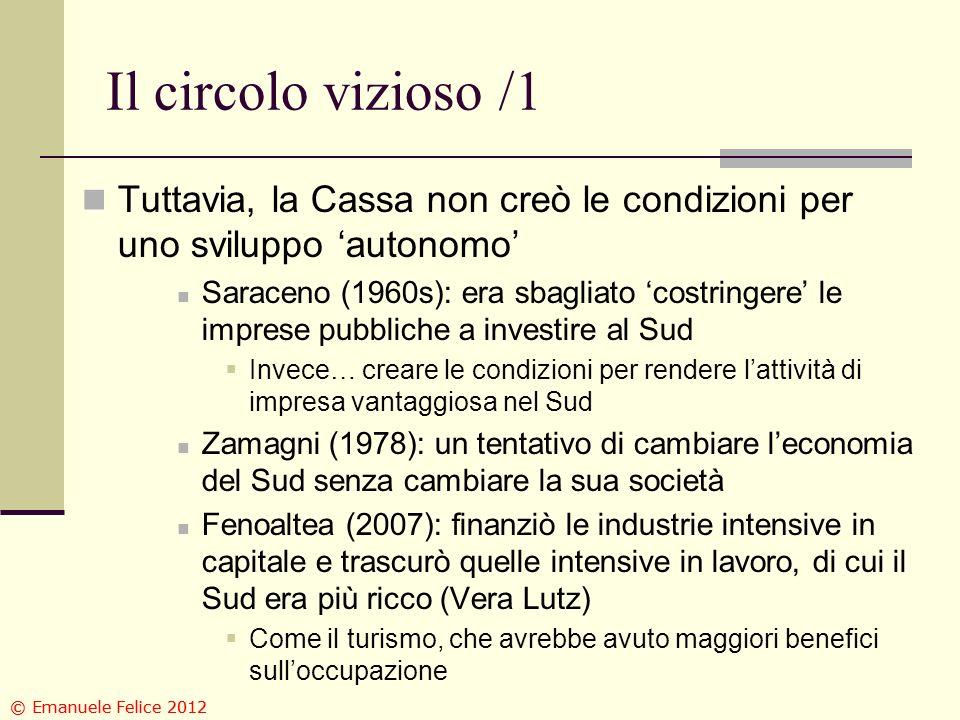 Il circolo vizioso /1 Tuttavia, la Cassa non creò le condizioni per uno sviluppo autonomo Saraceno (1960s): era sbagliato costringere le imprese pubbl