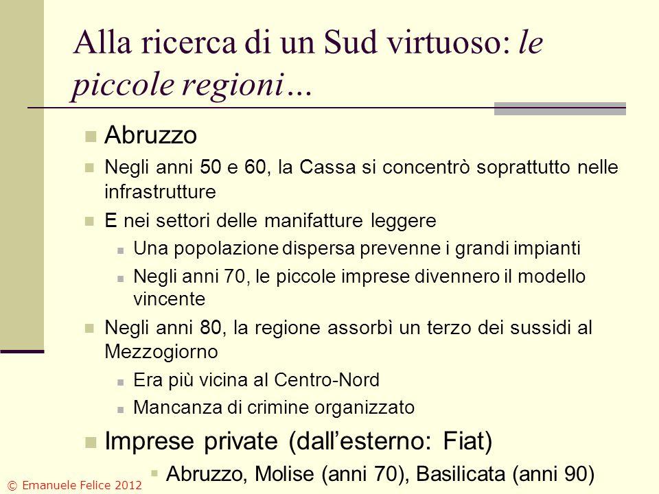Alla ricerca di un Sud virtuoso: le piccole regioni… Abruzzo Negli anni 50 e 60, la Cassa si concentrò soprattutto nelle infrastrutture E nei settori
