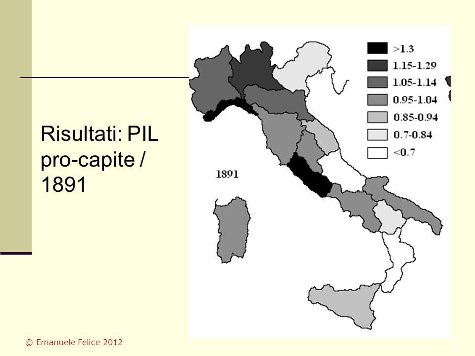 Risultati: PIL pro-capite / 1891 © Emanuele Felice 2012