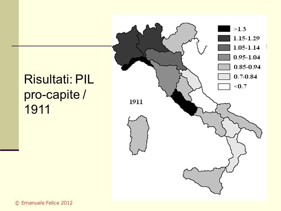 Risultati: PIL pro-capite / 1911 © Emanuele Felice 2012