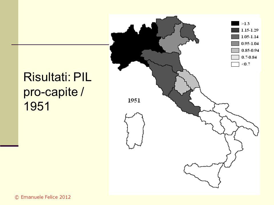 Risultati: PIL pro-capite / 1951 © Emanuele Felice 2012