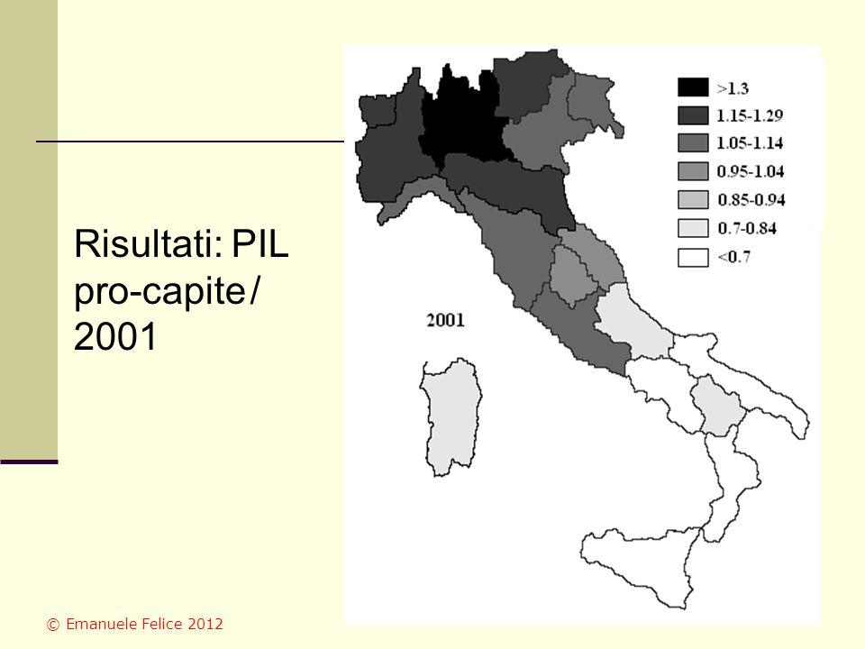 Risultati: PIL pro-capite / 2001 © Emanuele Felice 2012