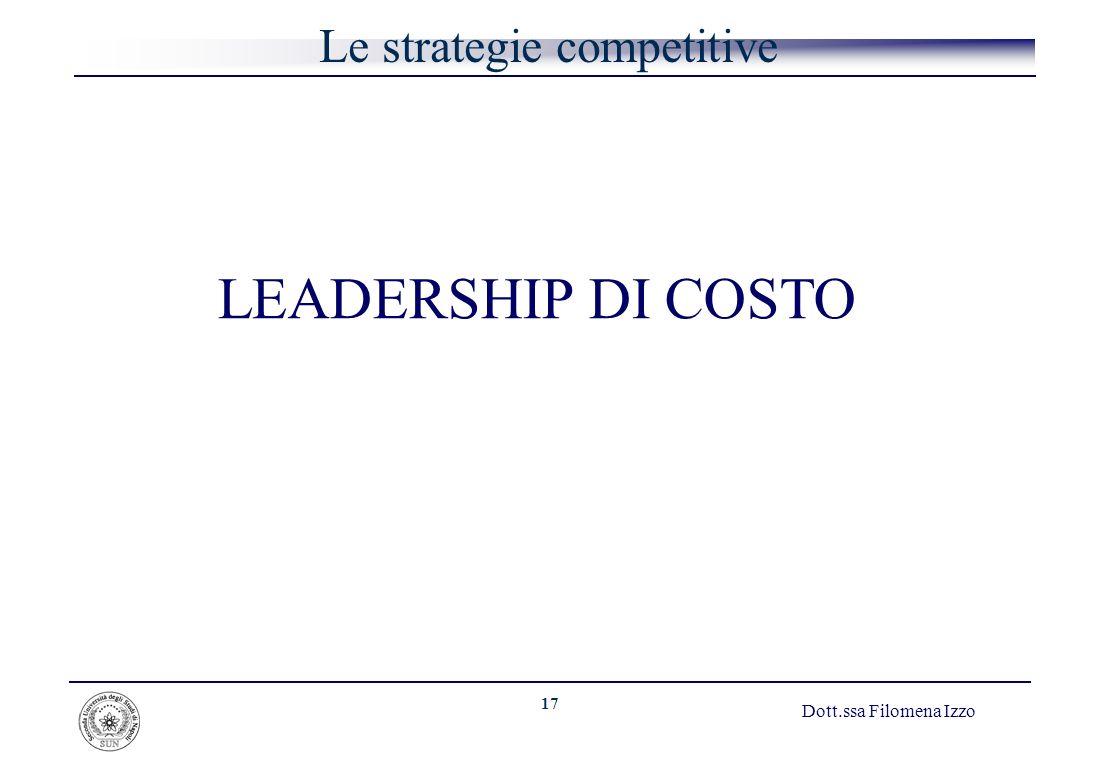 17 Dott.ssa Filomena Izzo Le strategie competitive LEADERSHIP DI COSTO