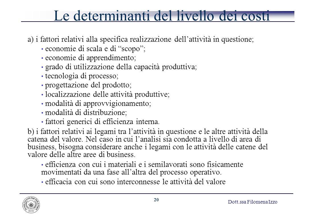 20 Dott.ssa Filomena Izzo Le determinanti del livello dei costi a) i fattori relativi alla specifica realizzazione dellattività in questione; economie