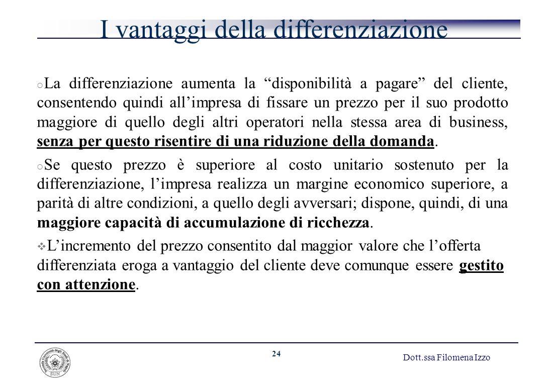 24 Dott.ssa Filomena Izzo I vantaggi della differenziazione o La differenziazione aumenta la disponibilità a pagare del cliente, consentendo quindi al