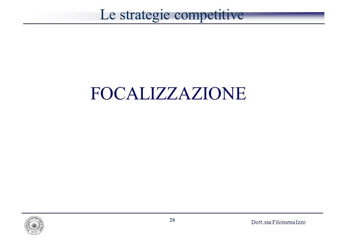 26 Dott.ssa Filomena Izzo Le strategie competitive FOCALIZZAZIONE