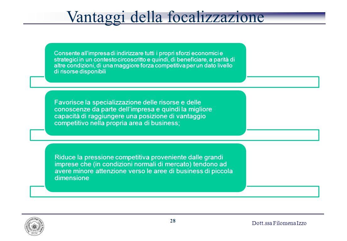 28 Dott.ssa Filomena Izzo Vantaggi della focalizzazione Consente allimpresa di indirizzare tutti i propri sforzi economici e strategici in un contesto
