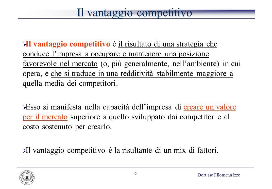 6 Dott.ssa Filomena Izzo Il vantaggio competitivo Il vantaggio competitivo è il risultato di una strategia che conduce limpresa a occupare e mantenere
