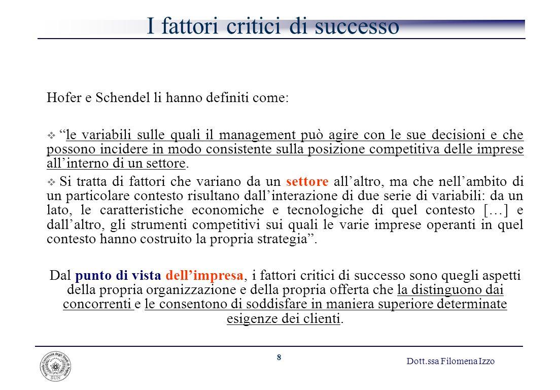 8 Dott.ssa Filomena Izzo I fattori critici di successo Hofer e Schendel li hanno definiti come: le variabili sulle quali il management può agire con l