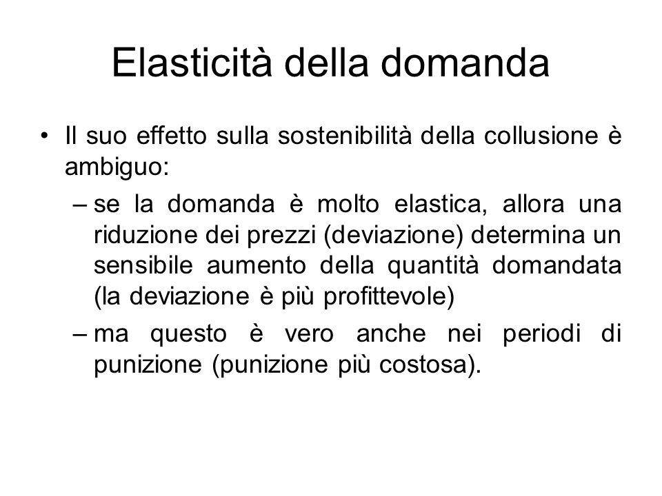 Elasticità della domanda Il suo effetto sulla sostenibilità della collusione è ambiguo: –se la domanda è molto elastica, allora una riduzione dei prez