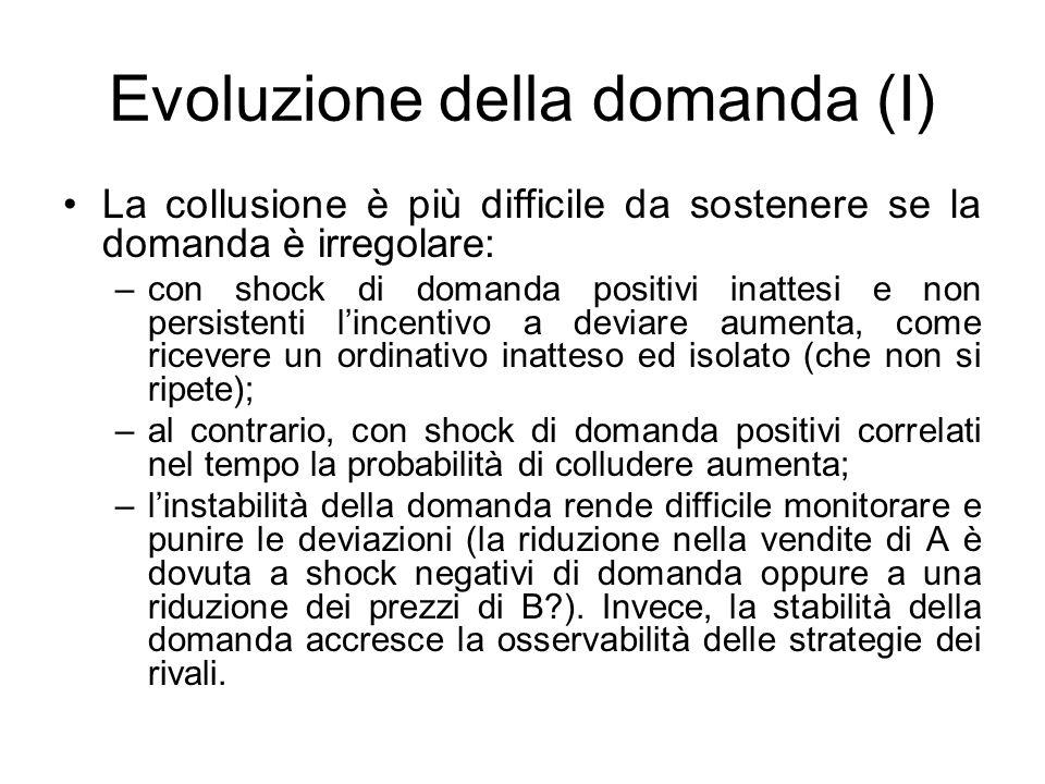 Evoluzione della domanda (I) La collusione è più difficile da sostenere se la domanda è irregolare: –con shock di domanda positivi inattesi e non pers