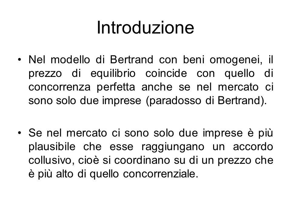 Introduzione Nel modello di Bertrand con beni omogenei, il prezzo di equilibrio coincide con quello di concorrenza perfetta anche se nel mercato ci so