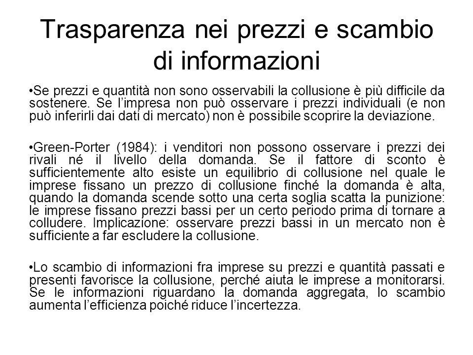 Trasparenza nei prezzi e scambio di informazioni Se prezzi e quantità non sono osservabili la collusione è più difficile da sostenere. Se limpresa non
