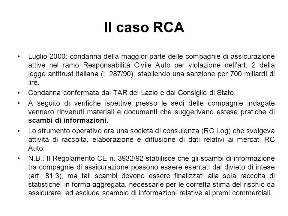 Il caso RCA Luglio 2000: condanna della maggior parte delle compagnie di assicurazione attive nel ramo Responsabilità Civile Auto per violazione della