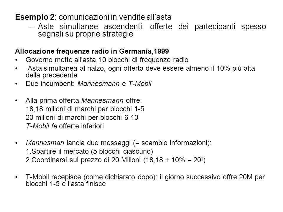 Esempio 2: comunicazioni in vendite allasta –Aste simultanee ascendenti: offerte dei partecipanti spesso segnali su proprie strategie Allocazione freq