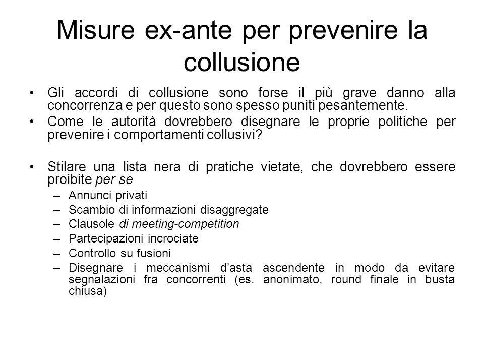 Misure ex-ante per prevenire la collusione Gli accordi di collusione sono forse il più grave danno alla concorrenza e per questo sono spesso puniti pe
