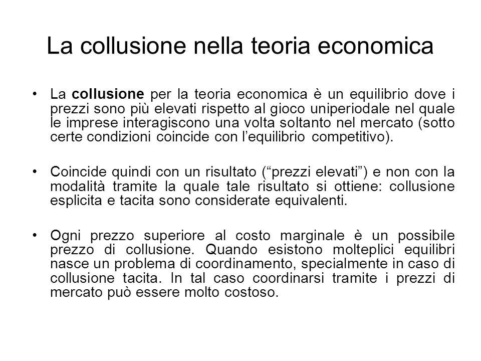 La collusione nella teoria economica La collusione per la teoria economica è un equilibrio dove i prezzi sono più elevati rispetto al gioco uniperioda