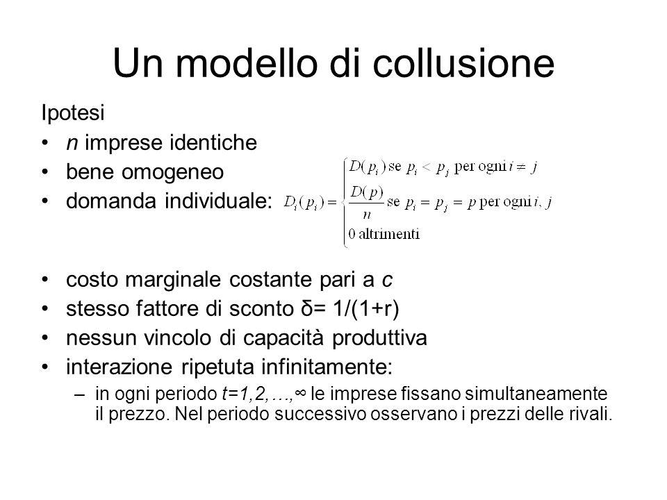 Un modello di collusione Ipotesi n imprese identiche bene omogeneo domanda individuale: costo marginale costante pari a c stesso fattore di sconto δ=