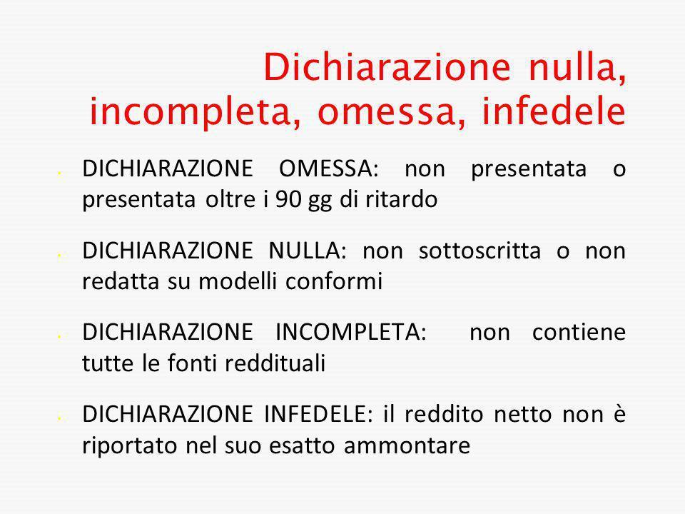 Dichiarazione nulla, incompleta, omessa, infedele DICHIARAZIONE OMESSA: non presentata o presentata oltre i 90 gg di ritardo DICHIARAZIONE NULLA: non