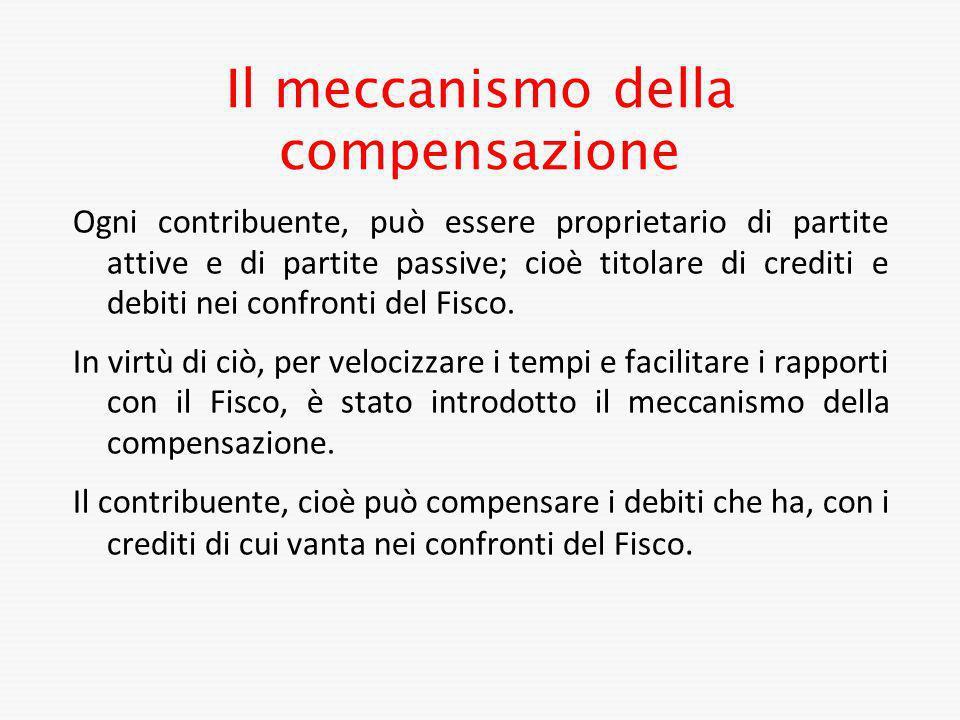 Il meccanismo della compensazione Ogni contribuente, può essere proprietario di partite attive e di partite passive; cioè titolare di crediti e debiti