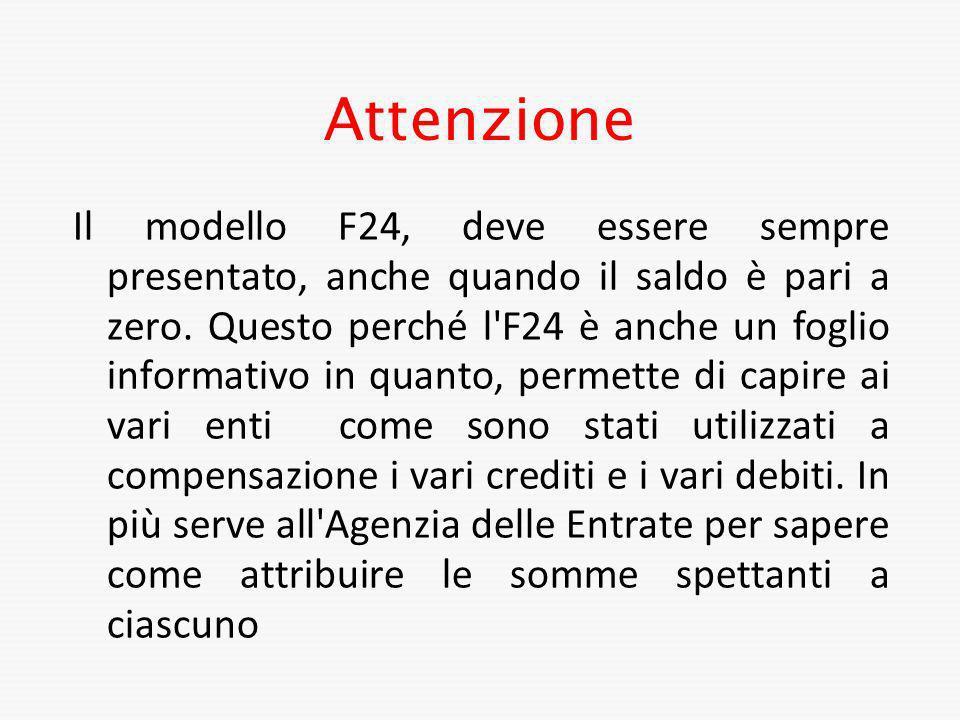 Attenzione Il modello F24, deve essere sempre presentato, anche quando il saldo è pari a zero. Questo perché l'F24 è anche un foglio informativo in qu