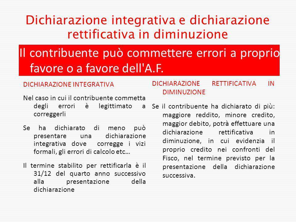 Dichiarazione integrativa e dichiarazione rettificativa in diminuzione DICHIARAZIONE INTEGRATIVA Nel caso in cui il contribuente commetta degli errori