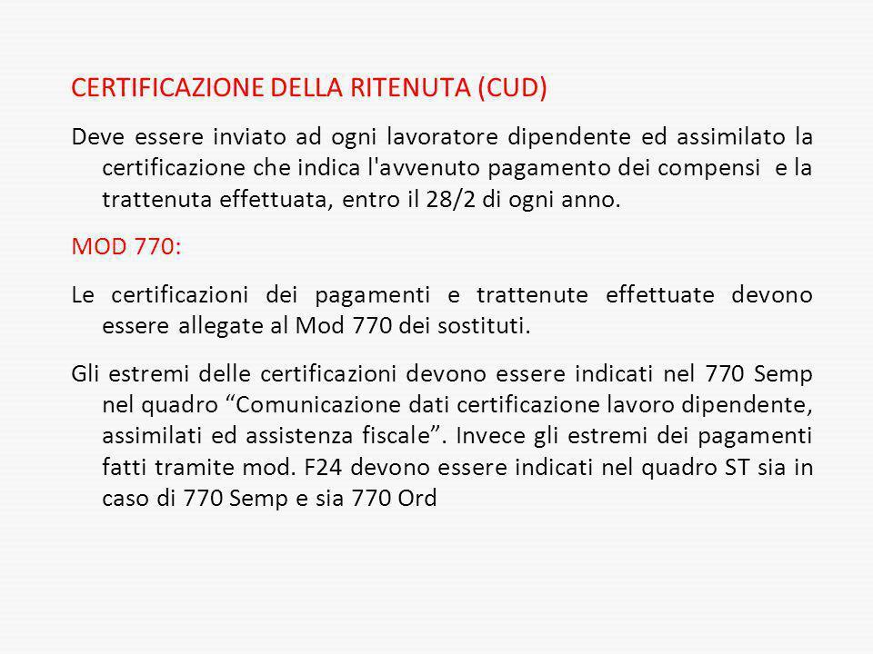 CERTIFICAZIONE DELLA RITENUTA (CUD) Deve essere inviato ad ogni lavoratore dipendente ed assimilato la certificazione che indica l'avvenuto pagamento