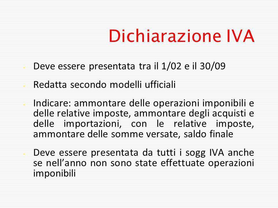 Dichiarazione IVA Deve essere presentata tra il 1/02 e il 30/09 Redatta secondo modelli ufficiali Indicare: ammontare delle operazioni imponibili e de