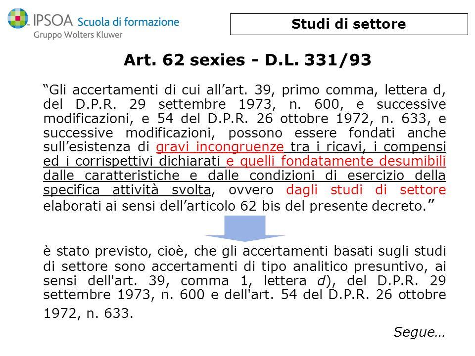 Art. 62 sexies - D.L. 331/93 Gli accertamenti di cui allart. 39, primo comma, lettera d, del D.P.R. 29 settembre 1973, n. 600, e successive modificazi