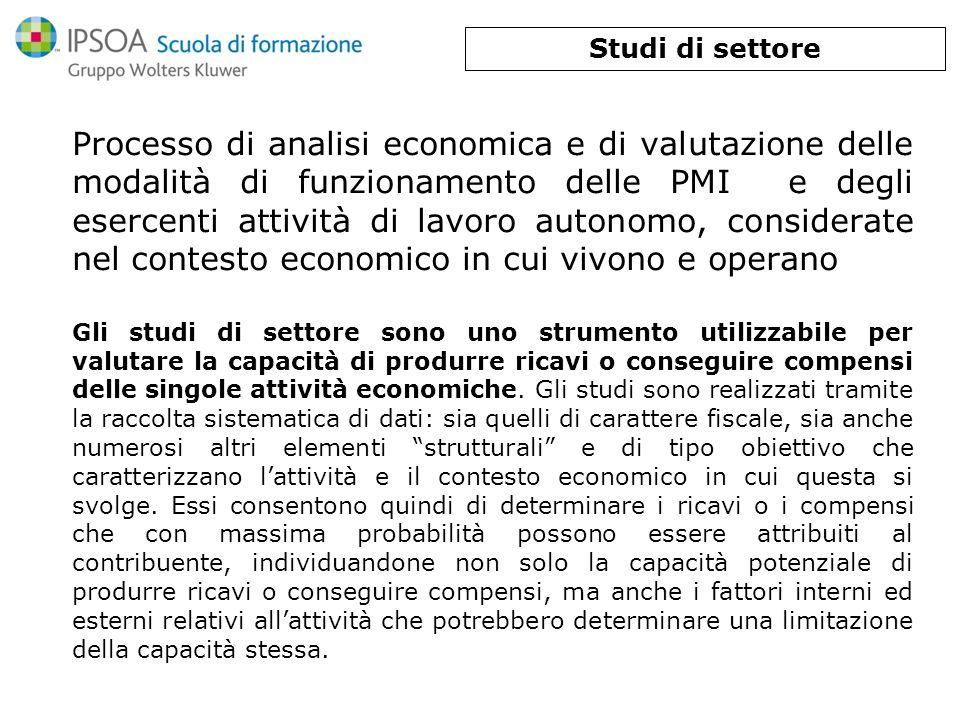 Processo di analisi economica e di valutazione delle modalità di funzionamento delle PMI e degli esercenti attività di lavoro autonomo, considerate ne